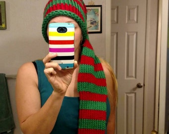 Extra long crocheted sleeper hat