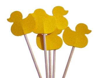 Yellow Duck Cupcake Toppers 24CT, Baby Shower Decorations, Rubber Ducky Party Decorations - No478