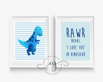 Set of 2 A4 Blue Dinosaur Art Print - Rawr means I love you in Dinosaur