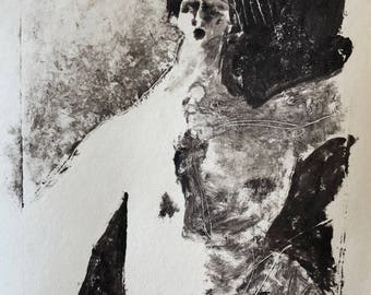 Reflections: Run!  ~ Original Signed Monotype Print on Paper