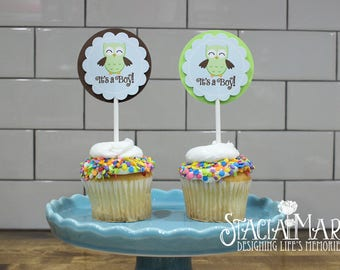 It's a Boy Owl Baby Shower Cupcake Toppers