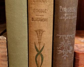 A nice set of 3 small, decorative,  hardcover books, On the Road Home; Lorna Doone; Evangeline - Longfellow