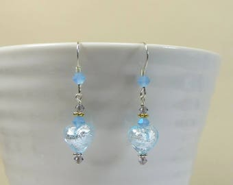Mini Heart Earrings Venetian Murano Glass Earrings in Soft Aqua Blue w Swarovski Crystal & 925 Sterling Earrings, Pretty Blue Heart Earrings