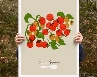 "Cherry Tomatoes Poster print  20""x27"" - archival fine art giclée print"