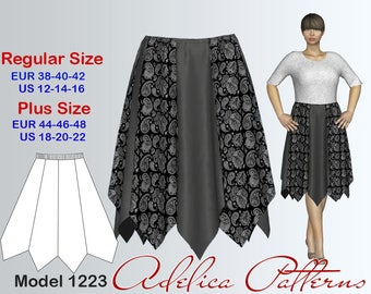 Gored Skirt Sewing Pattern for Women's sizes 12-22, Skirt PDF Instant Download Sewing Pattern
