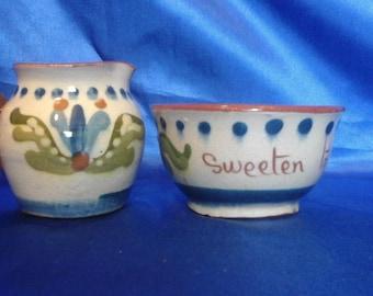 "Vintage Devon Motto Ware Watcombe Pottery Cream Jug ""Devonshire Cream"" and Sugar Bowl ""Sweeten to your liking"""