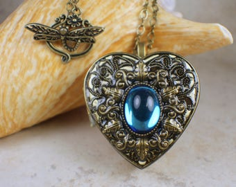 Music box necklace etsy bermuda blue glass music box aloadofball Image collections