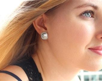 Sterling Silver Square Monogram Pearl Earrings