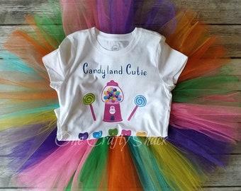Candyland tutu set, Lollipop tutu, Candyland Birthday outfit, Rainbow tutu, Candy tutu, Candyland tutu, Candy Shop, First Birthday Candyland