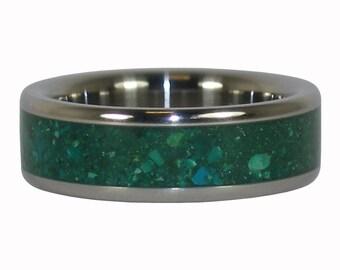 Blue Chrysocolla Titanium Ring