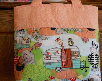 Small Lined Tote with Whimsical Vintage Trailer Print