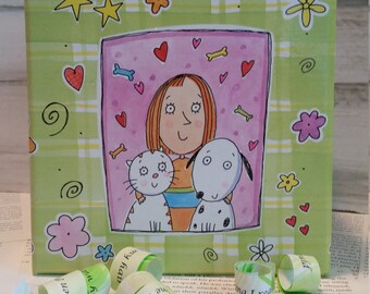 """Dog Lover Gift, Cat Lover Gift, Mother Daughter Gift, Lime Green Pink """"Growing up ME! Memory Compendium©"""" Mary Lynn Savko RoadSideBoutique"""