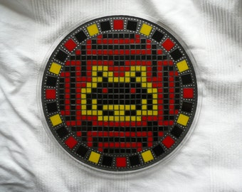 Mosaic Space Invader Heatproof Trivet / Candle Tray / Fruit Plate / Red Yellow Black