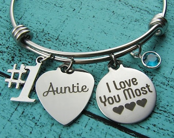 aunt gift, #1 auntie bracelet, #1 auntie gift, aunt to be, Godmother gift, personalized aunt gift, I love you most Mothers Day gift for Aunt