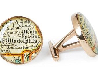 Philadelphia Map Cufflinks Solid Golden Bronze Heirloom Cast One Piece Antique Atlas Gift for Boss or Dad