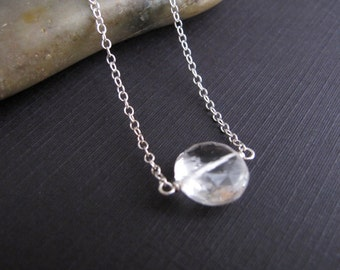 Luxe Quartz Pendant on Sterling Silver Chain, Simple Modern Jewelry