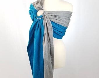 Sodalite Cotton Wrap Conversion Ring Sling Newborn, Infant, Baby, Toddler Carrier - ComfyCutie Hybrid Gathered Pleated Shoulder - Size S/M