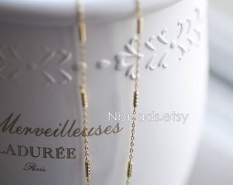 Gold plated Brass Chains, Real Gold Designer Chain, 1.3mm Thin Decorative Chains (#LK-127)/ 1 Meter=3.3 ft