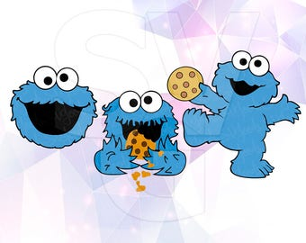 SVG Sesame Street Cookie Monster LAYERED DXF Cut Files Cricut Designs Silhouette Cameo Party Decorations Decal Scrapbooking Tshirt Transfer