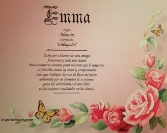 Emma First Name Meaning Art Print-Spanish Emma Name Meaning-Personalized Rose Vine Art-8x10-Home Decor-Birthday-Christmas-Gift for Her