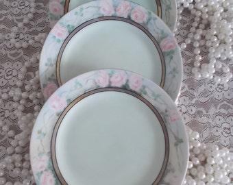set of three Pink Roses dessert plates delicate pale pink roses porcelain plates