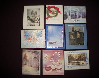 Christmas Cards Vintage Set of Nine Winter Scenes, Used, 1940's - 1950's