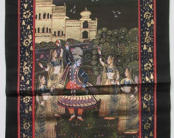 Antique Image of a decorated Indian Dancers and Landscape on silk