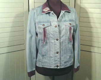 Upcycled Denim Jacket Purple Suede Painted Leather Stitched Inlay Western Native American Art Sante Fe Re Creations Women's Size Medium