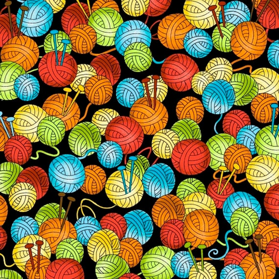 Knit Happy Balls of Yarn On Black Quilt Fabric by Julie Love and Brittany Love-Bonda for Henry Glass,  Fabric by the Yard 1076 99