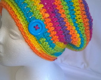 Hippy bright multicoloured beanie, funky crochet hat, rainbow button slouchy beanie crochet hat