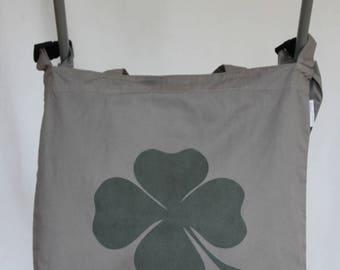 Stroller - clover design - grey organic cotton shoulder bag