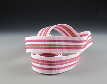 "15/16"" PINK RASPBERRY WHITE Striped  Grosgrain Ribbon  Wide 5 yard Length"