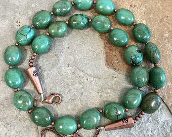 Genuine green turquoise nugget and copper necklace