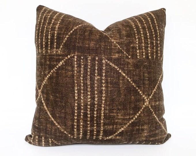 Handmade Heavy Weight Brown Tribal African Print Linen Pillow Cover 20x20