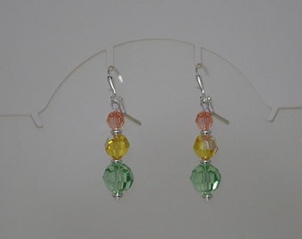 Swarovski Crystal Earrings - MADE TO ORDER in Any Colors - Silver Plated Wires, Leverbacks or Posts