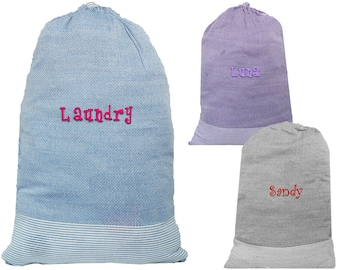 Monogrammed Laundry Bag | College Laundry Bag | Graduation Gift | Personalized Laundry | Dirty Clothes Bag | Stripped Laundry Bag