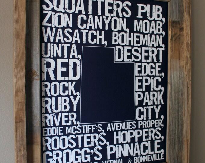 Beers of Utah Word Map (Dark Blue) - Unframed