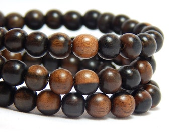 6mm Tiger Ebony Wood Beads, Round Black Wood Beads, 6mm Black Beads, Black Wood Beads, Tiger Ebony Beads, Small Black Beads, D-J07