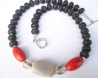 Santorini Black Lava Magnesite Marble Necklace Contemporary Greek  Volcanic Beads Statement Necklace Sterling Silver Necklace
