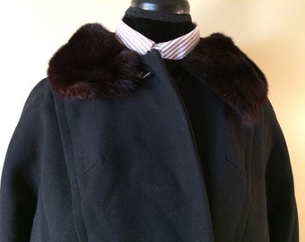 Beautiful 1950's Genuine Mink Fur Collar Coat // Vintage Black Long Coat // Mink Fur Collar Coat