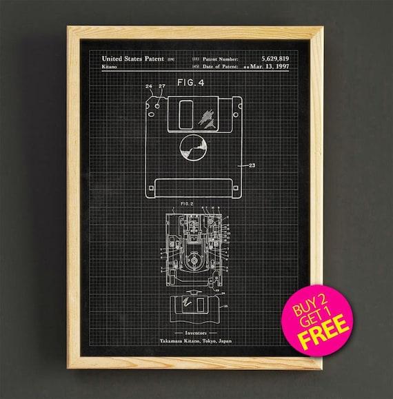 Floppy disk patent art print computer floppy disk blueprint malvernweather Images