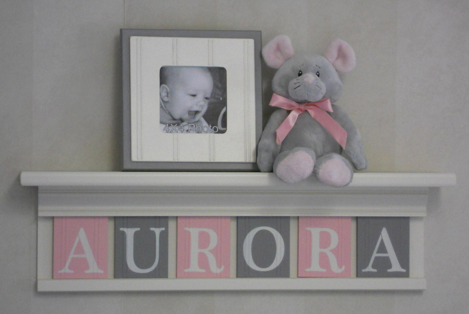 Baby Name Sign Baby Nursery Shelf Light Pink and Gray