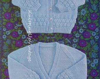 Baby Knitting Pattern pdf V neck and round neck Cardigans DK