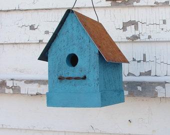 Outdoor Garden Bird House, Functional Birdhouse, Wooden Birdhouse, Cottage Beach Decor Turquoise Blue