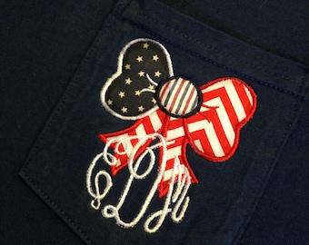 Patriotic Bow Monogrammed Pocket Tee Short Sleeved Comfort Colors tee - Flag Monogram Shirt - Flag Bow tshirt - Monogram Comfort Colors tee