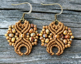 Micro-Macrame Earrings - Brown Picasso