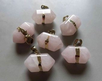 Polished Natural Rose Quartz Double Terminated Point Pendant With Golden Bail - B591