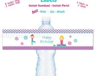 Printable Water Bottle Label Printable Yoga Birthday Party Water Bottle Label