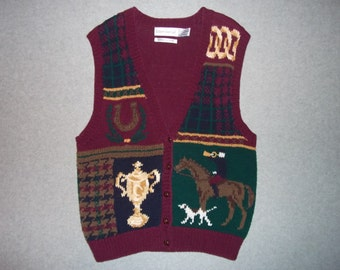 Horseback Riding Horse Dogs Sweater Vest Beautiful Tacky Gaudy Ugly Christmas X-Mas Party Warm Holiday L Large