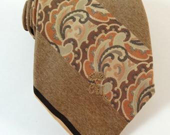 Vintage 1970s Wide Tie Countess Mara Brown Stripe Necktie